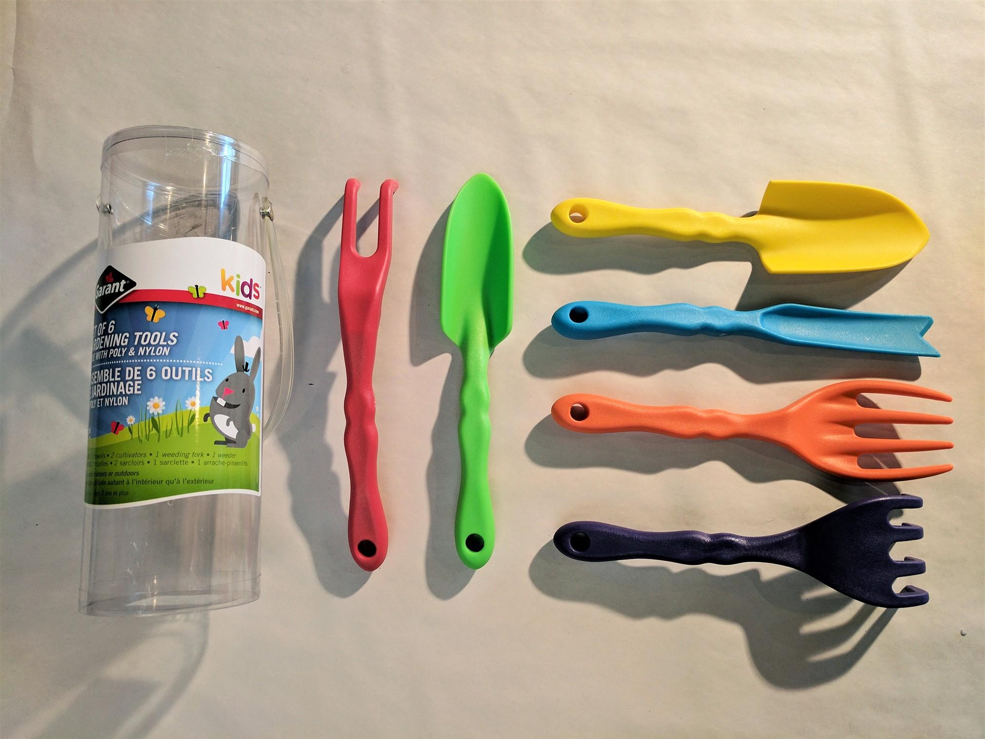 Ensemble de 6 outils de jardinage pour enfants les urbainculteurs - Outils de jardinage enfant ...
