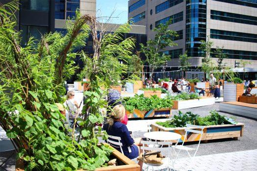 Place publique au pied d'immeubles urbains, comprenant de nombreux bacs de bois où pousse de la verdure. Plusieurs citadins sont assis sur des sièges et profitent de la place.