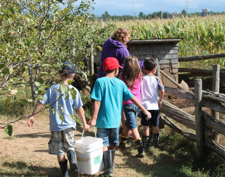 Un groupe d'enfants et une monitrice marchent en s'éloignant de la caméra, en portant une chaudière pour aller accomplir une tâche à la ferme.