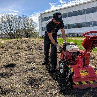 Un horticulteur démarre un rotoculteur, sur une parcelle de terrain à l'arrière d'un immeuble.