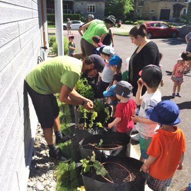 Deux horticulteurs et une monitrice de garderie interagissent avec une douzaine de jeunes enfants, autour d'une rangée de pots fraîchement plantés.