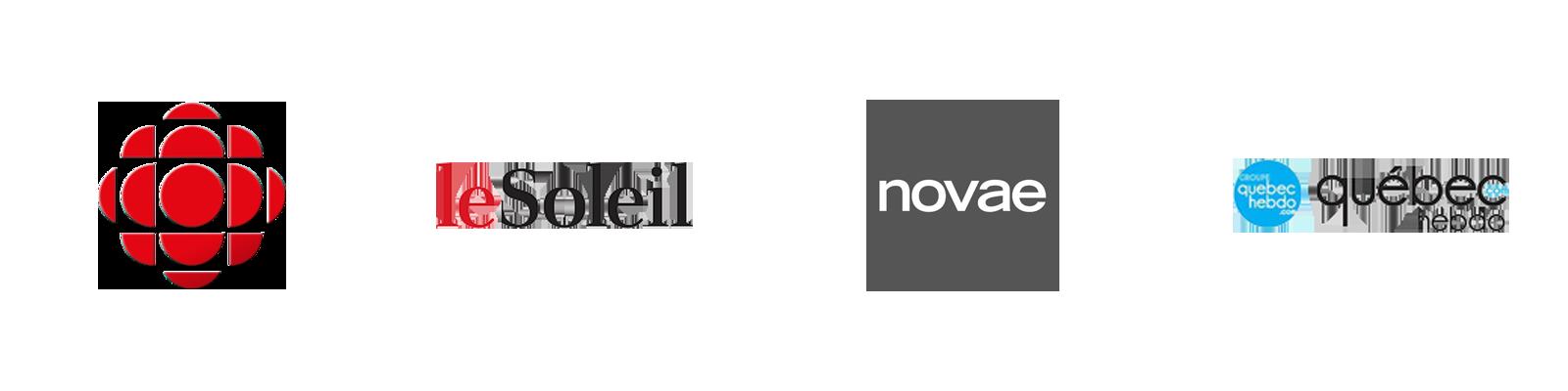 Logos Radio-Canada, Le Soleil, Novae et Québec Hebdo