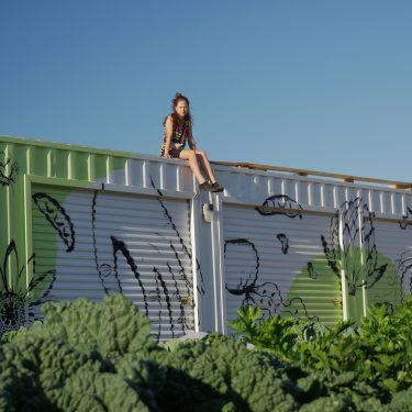 Une jeune fille est assise sur le toit du conteneur qui sert de cabanon à la ferme. Le cabanon est décoré avec des peintures représentant divers légumes. Un peu de feuillage est visible dans le bas de la photo.
