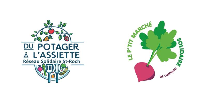 Logo Du potager à l'assiette, Réseau solidaire St-Roch. Et logo Le P'tit marché solidaire de Limoilou