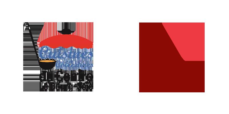 Logo Cuisines collectives du Centre Le Bourg-Joie. Et logo YMCA